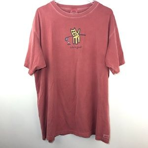 Life Is Good Mens T Shirt Dog Golf Maroon Sz XL